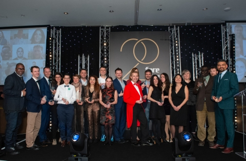 The Fare20 members pose for a group photo with their awards FARE network dinner, Hilton Hotel Wembley, London, UK - 31 Mar 2019 Photo: Fiona Hanson for The FA
